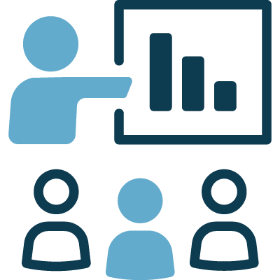Icon of marketer showing some people a chart
