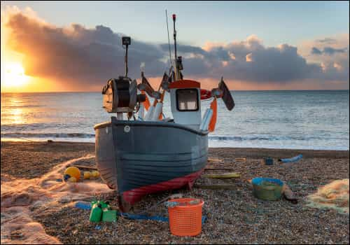 Image of boat on Suffolk beach