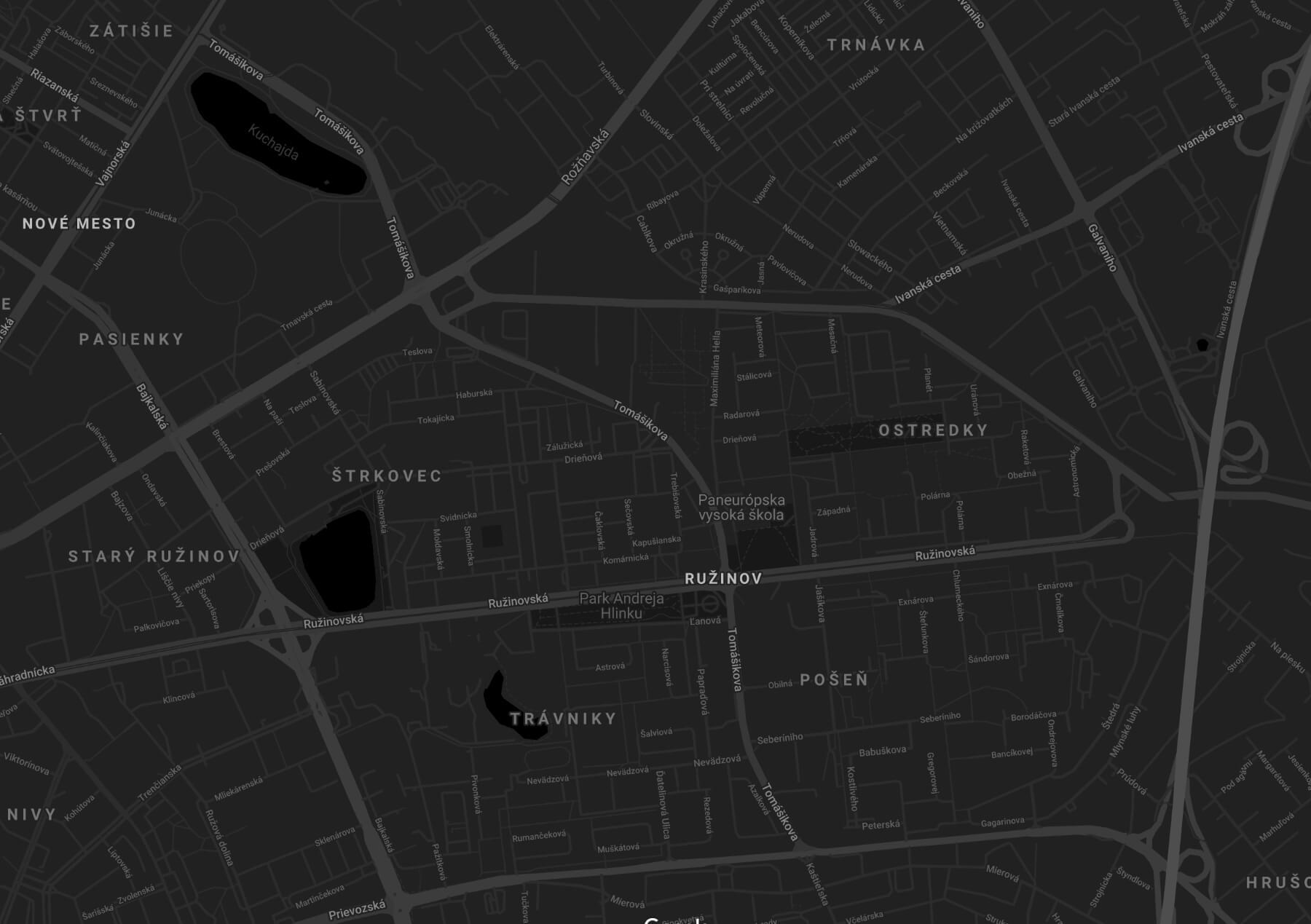 Mapa Bratislava - sídlo spoločnosti MBA & Partners