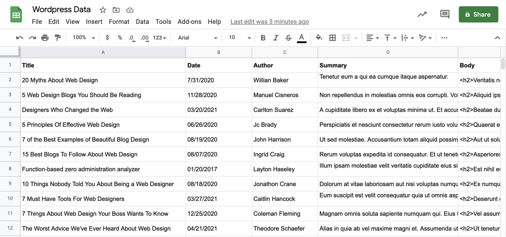 Screenshot of a Google Sheet of Website Data