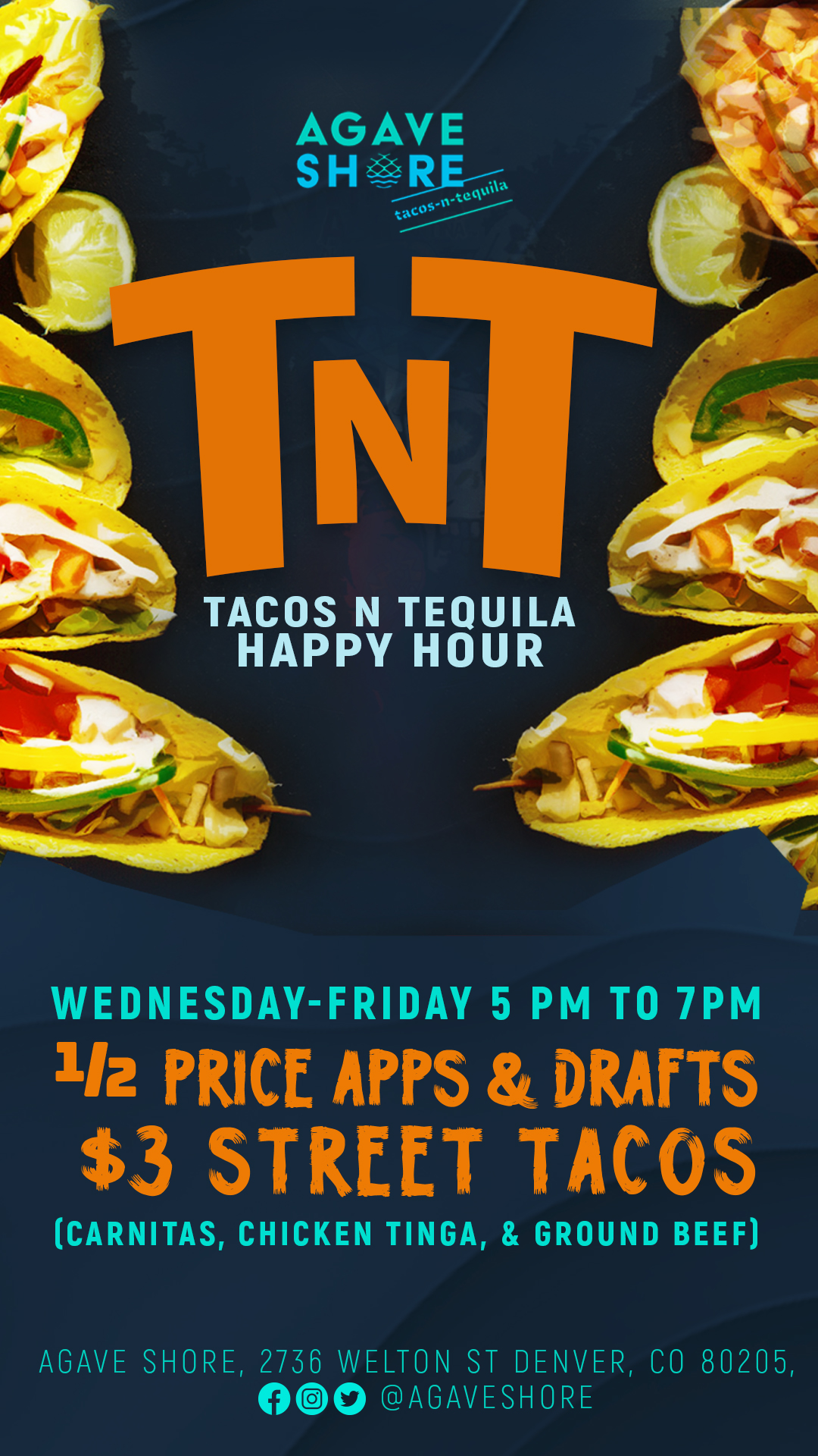 TNT Tacos and tequila happy hour  Wednesday thru Friday 5pm to 7pm half price appetizers and draft beers.  $3 street tacos (Carnitas, chicken Tinga, ground beef)