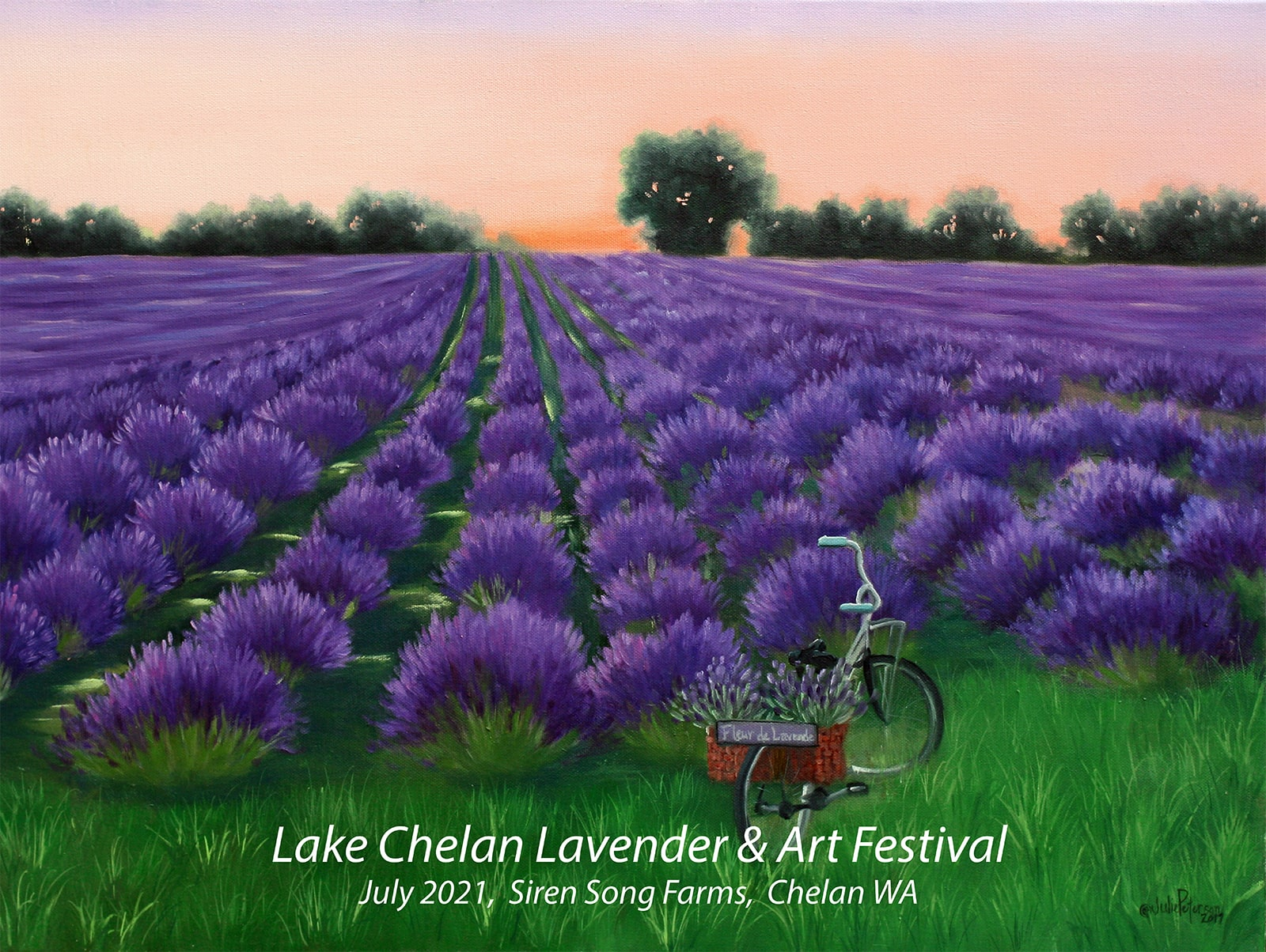Painting of lavender fields with a bicycle