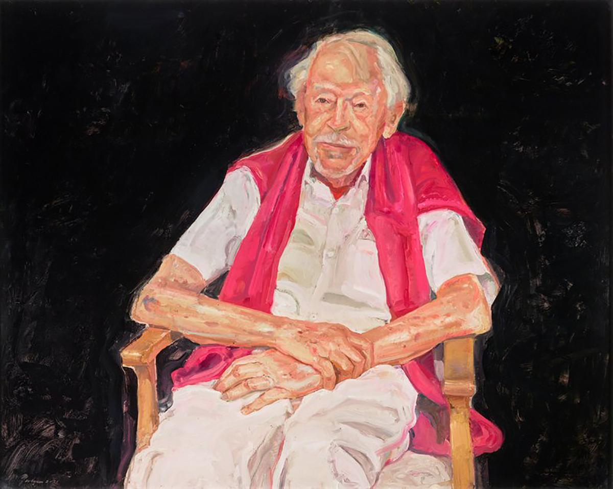 The 2021 Archibald Prize winning portrait of Guy Warren at 100 by artist Peter Wegner.