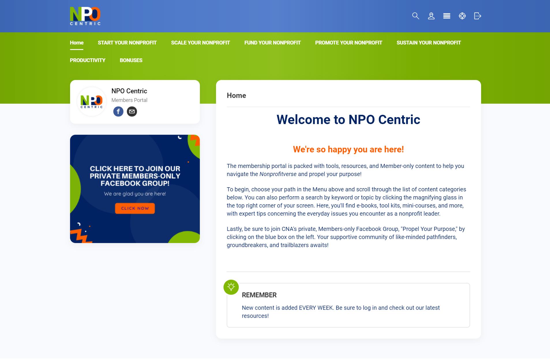 nonprofit member portal