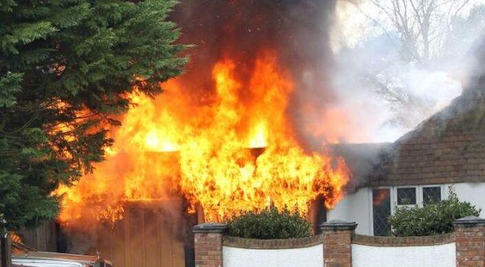 A house fire raging