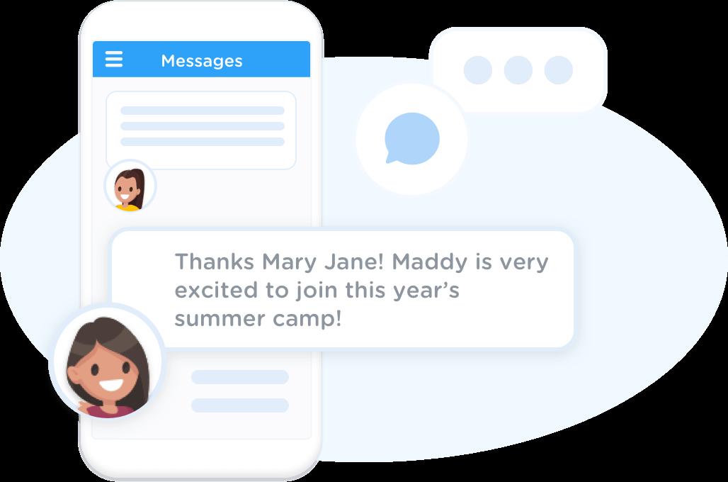 Parents receive class messages via the app
