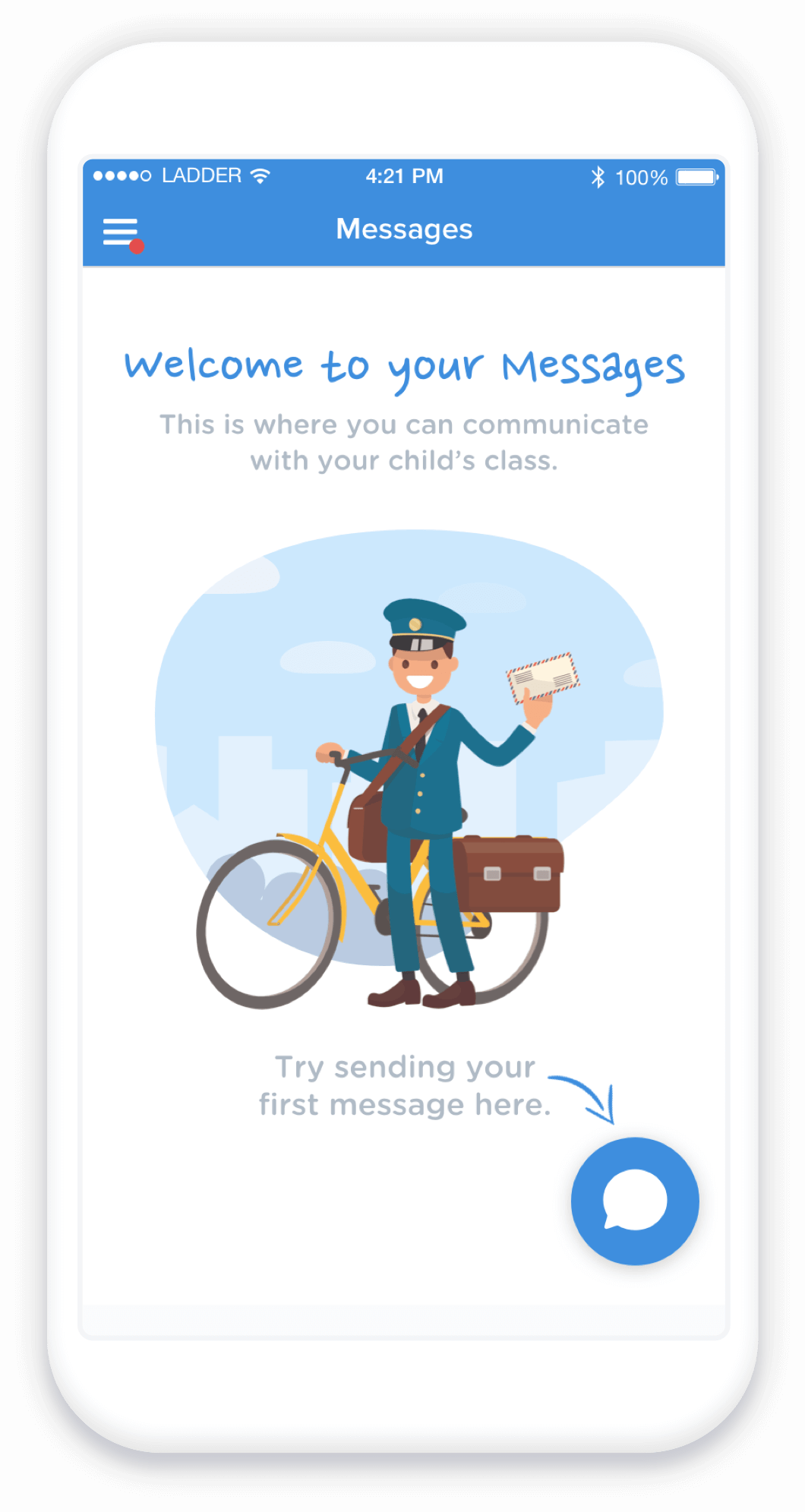 Daycare app for parents to manage messages