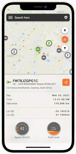 Cartrack app gives you the freedom and peace of mind for vehicle live GPS location that allows you to track your car at any time of the day, and share it with your team, family or friends.