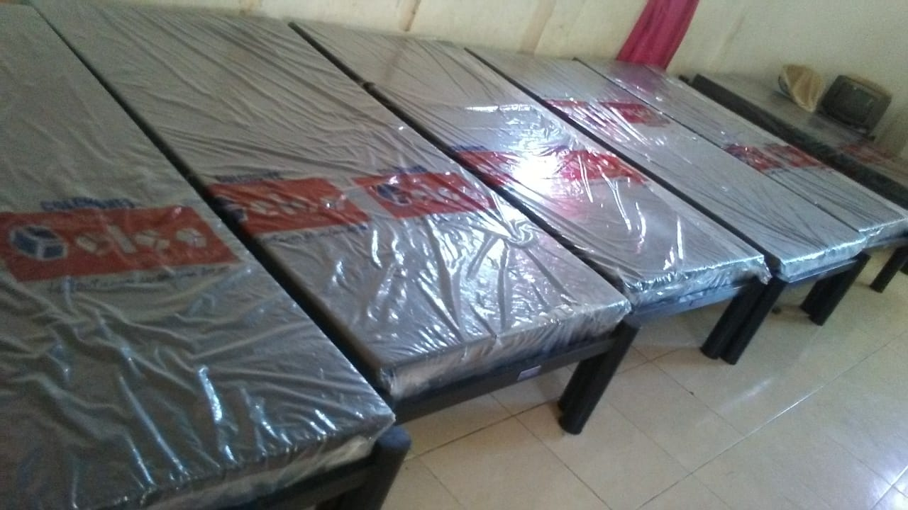 10 wheelchairs, 37 metal beds with mattresses and other equipment.