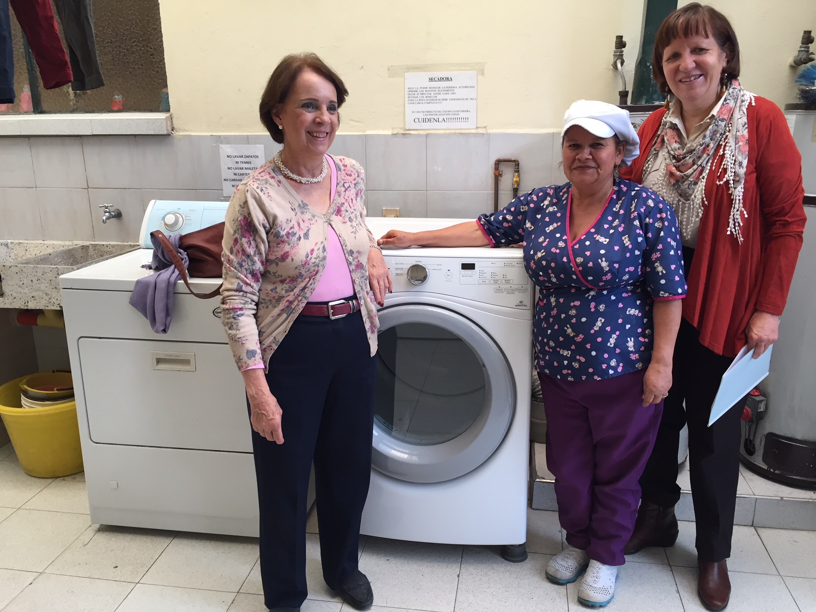A Whirlpool washing machine and dryer for the girls personal care.