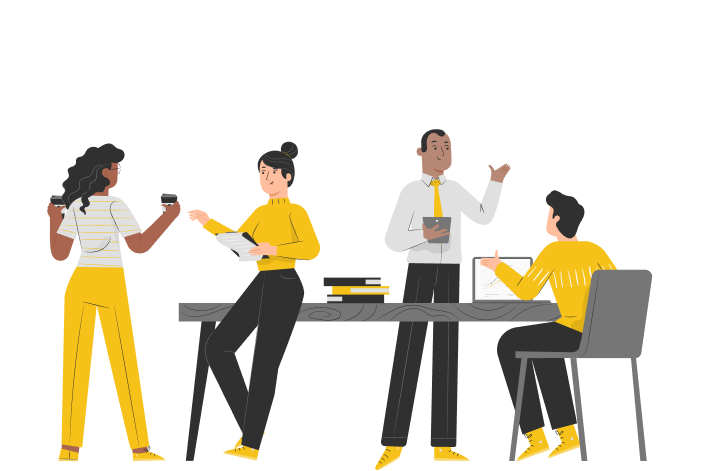 Illustration of coworkers around a table