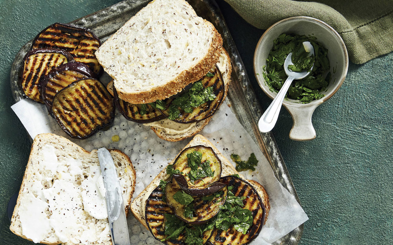 Lebanese style eggplant sandwiches with garlic dip