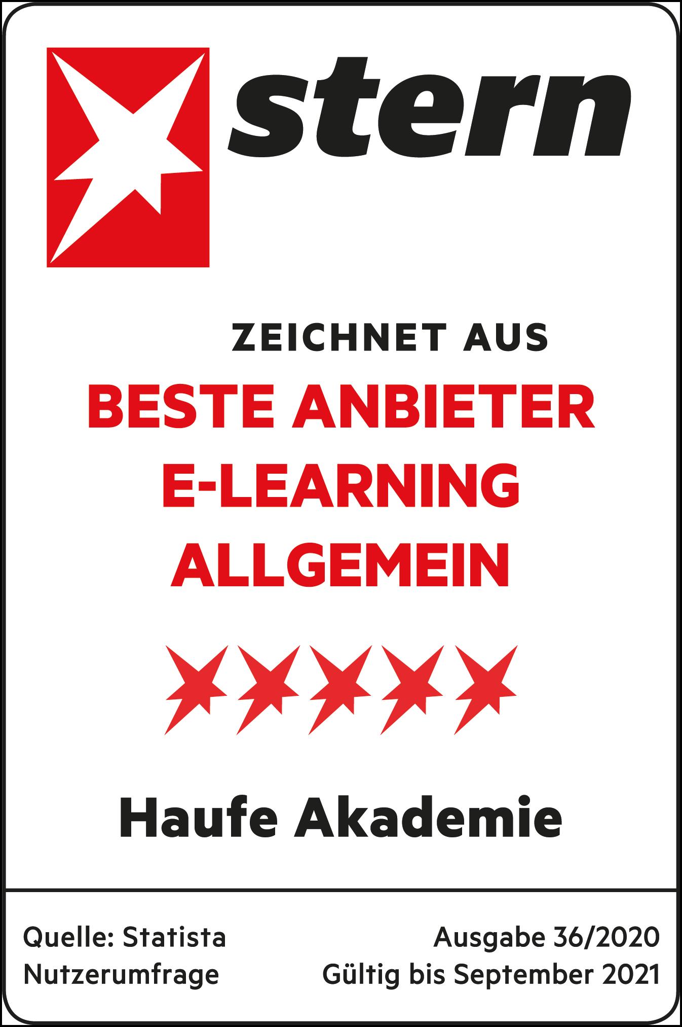 Siegel Bester Anbieter E-Learning