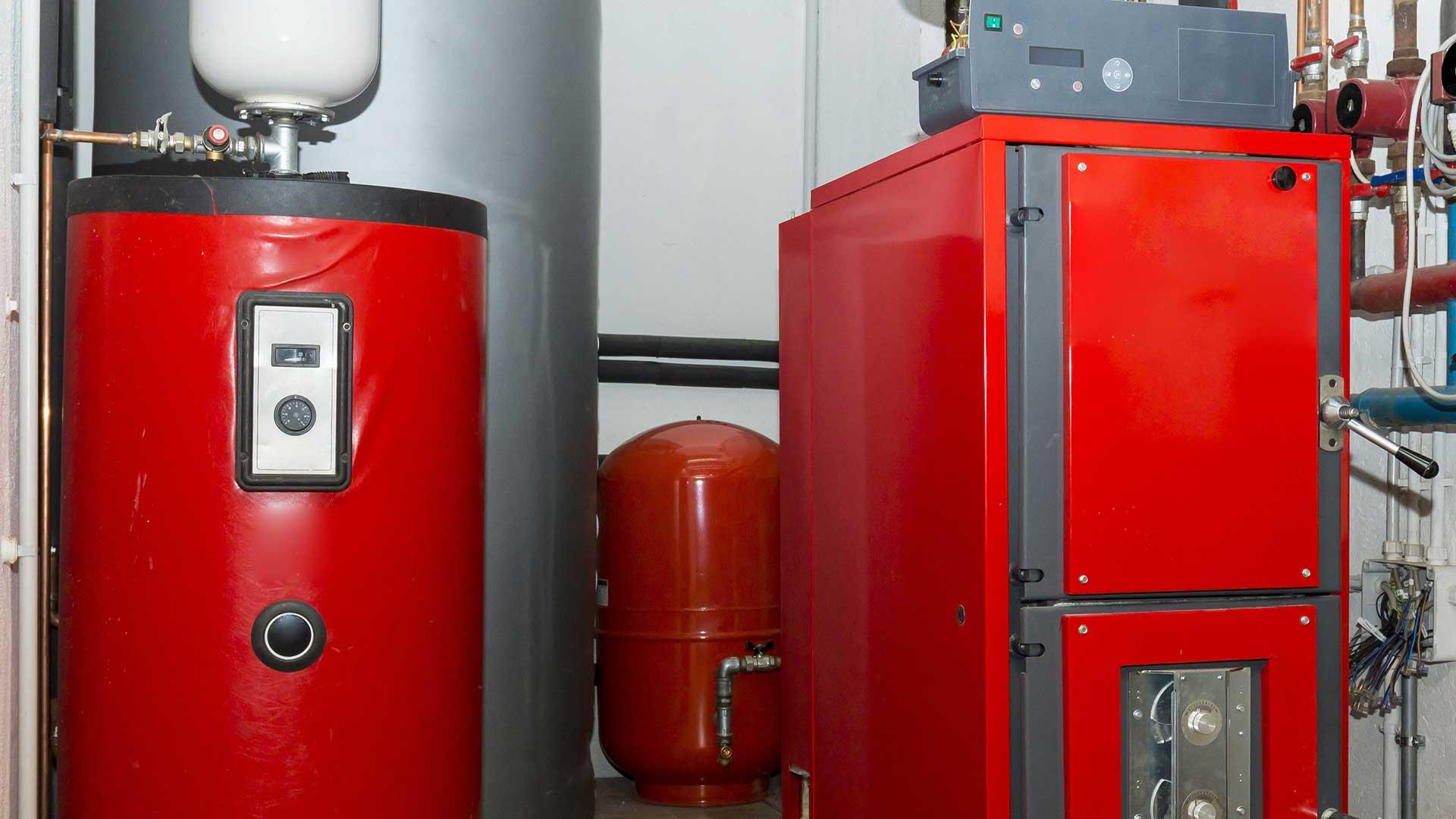 A red biomass boiler