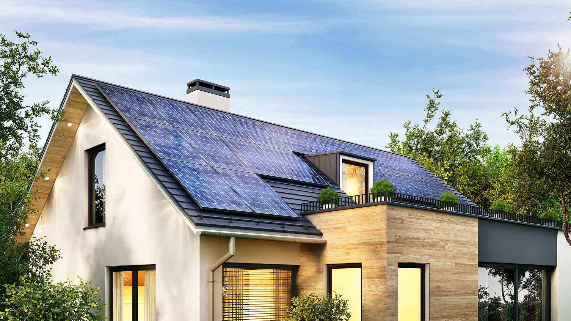 A beautiful house with a roof containing solar panels