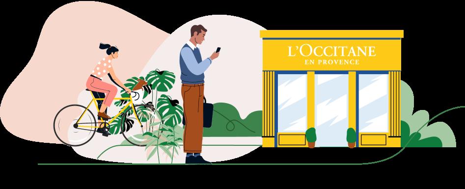 illustration d'une boutique l'occitane avec devant un homme regardant son portable et une femme faisant du vélo