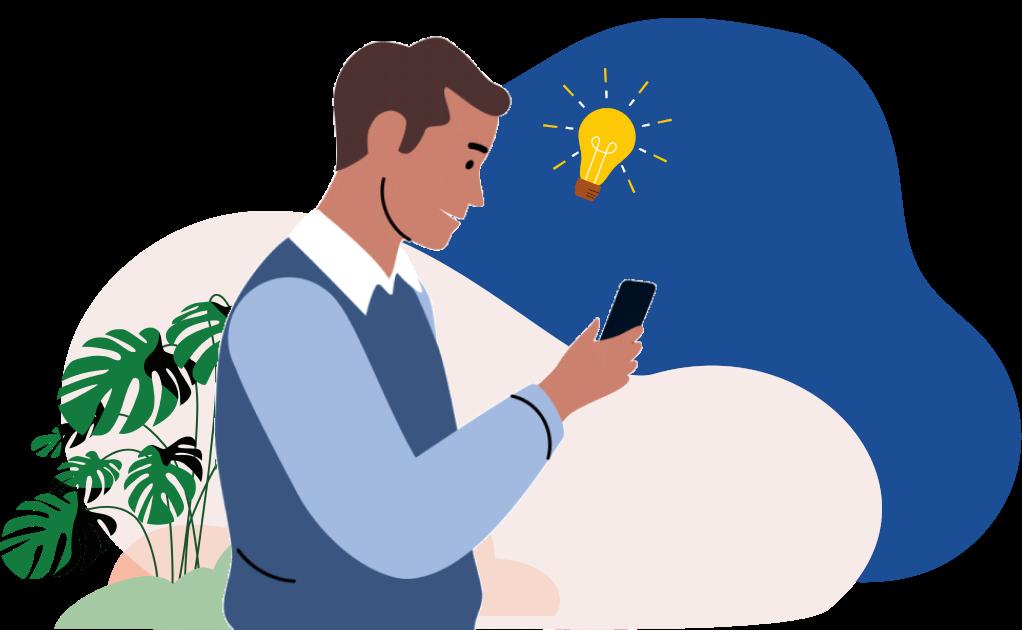 illustration d'un homme regardant son portable