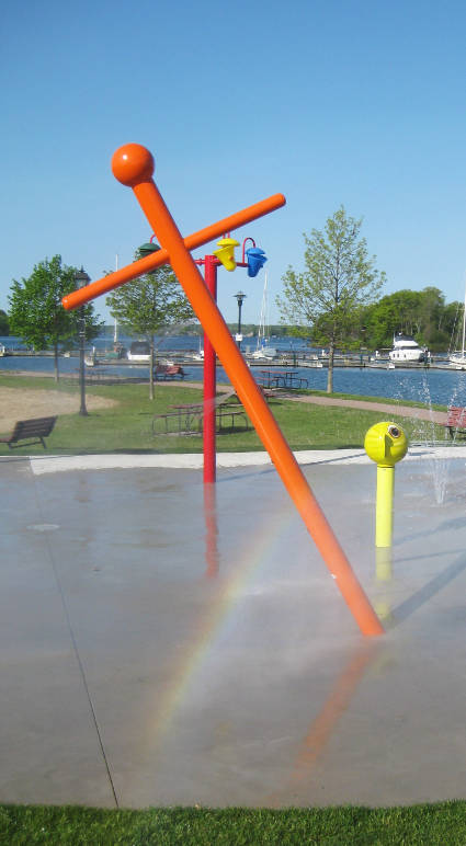 colourful structures installed in splash pad