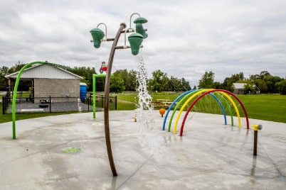 splash pad structure in Beckwith Park