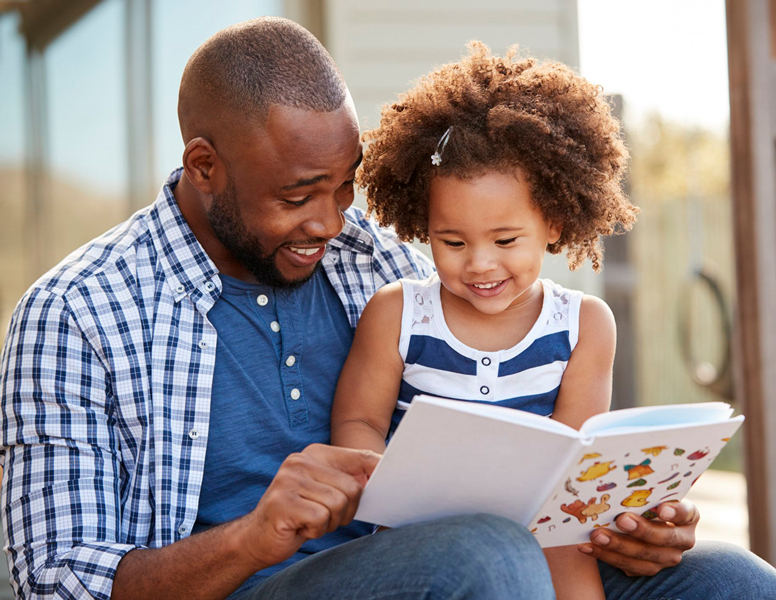 Parent reading to their child