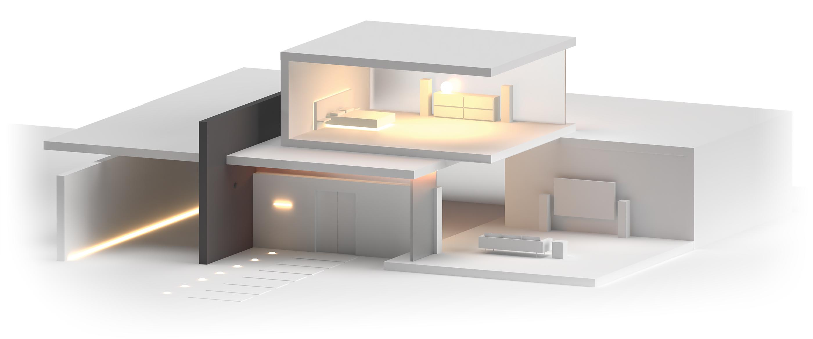A 3D render of a high end house cutaway to show the bedroom and living room together.