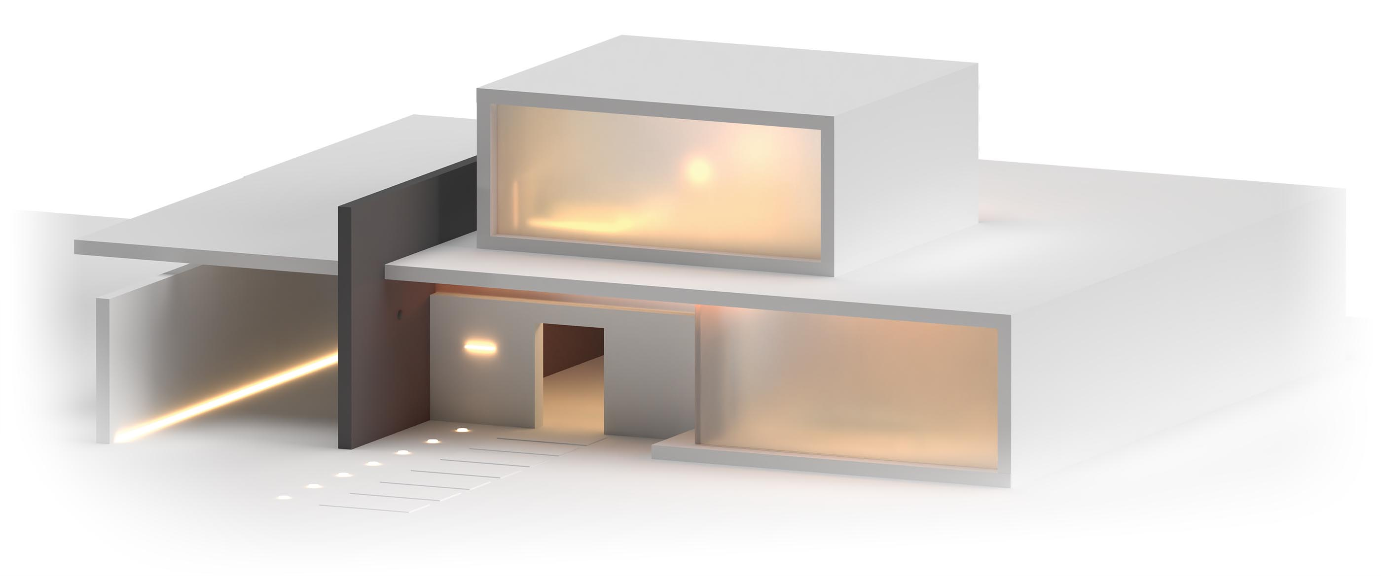 A 3D render of a high end house with an open front door.