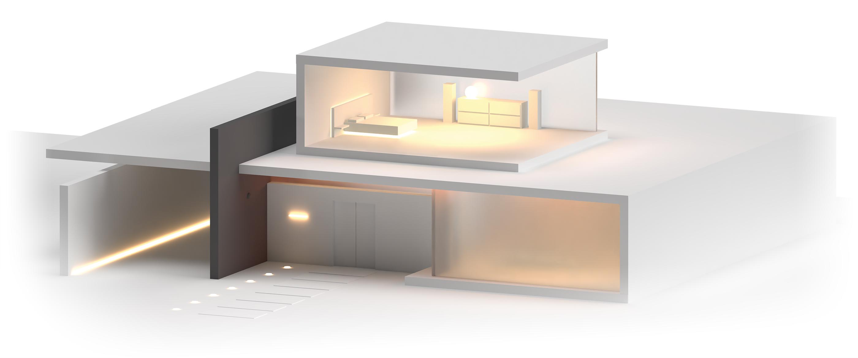 A 3D render of a high end house cutaway to show the bedroom.