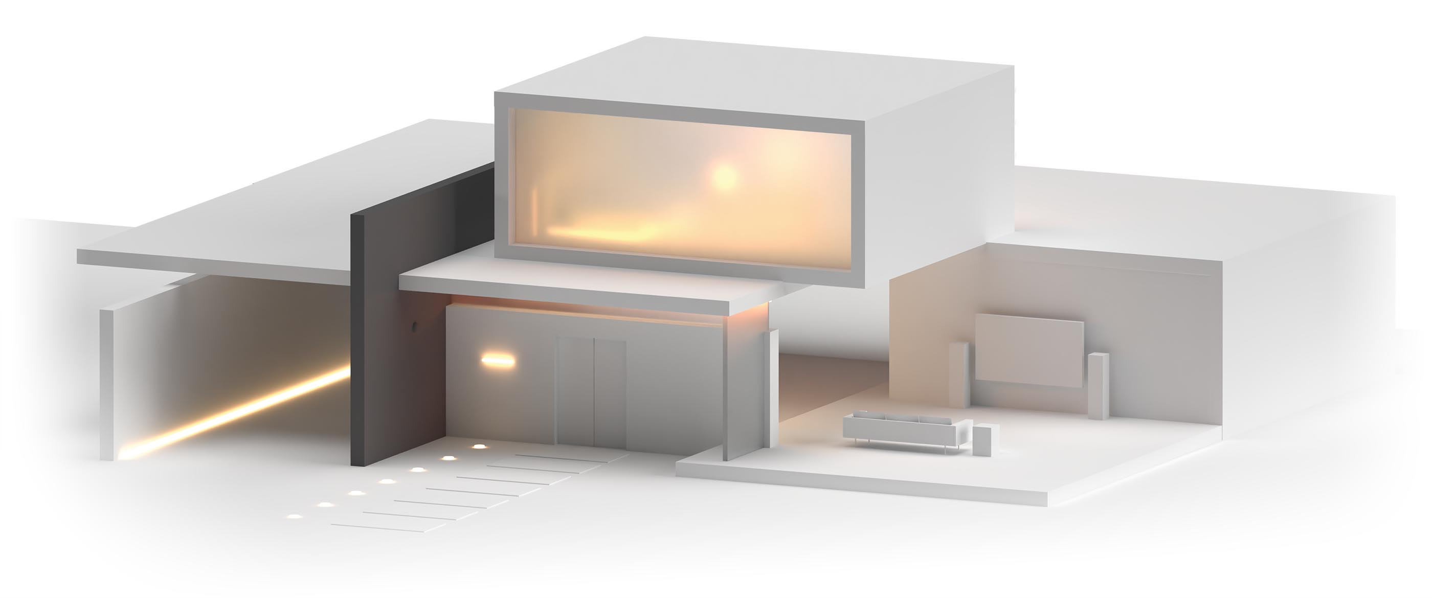 A 3D render of a high end house cutaway to show the living room.