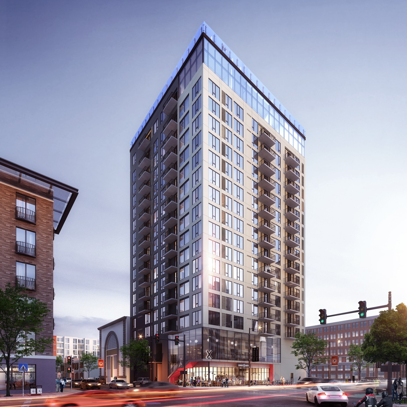 Exterior view of X Oakland, a luxury high rise apartment development in Uptown Oakland