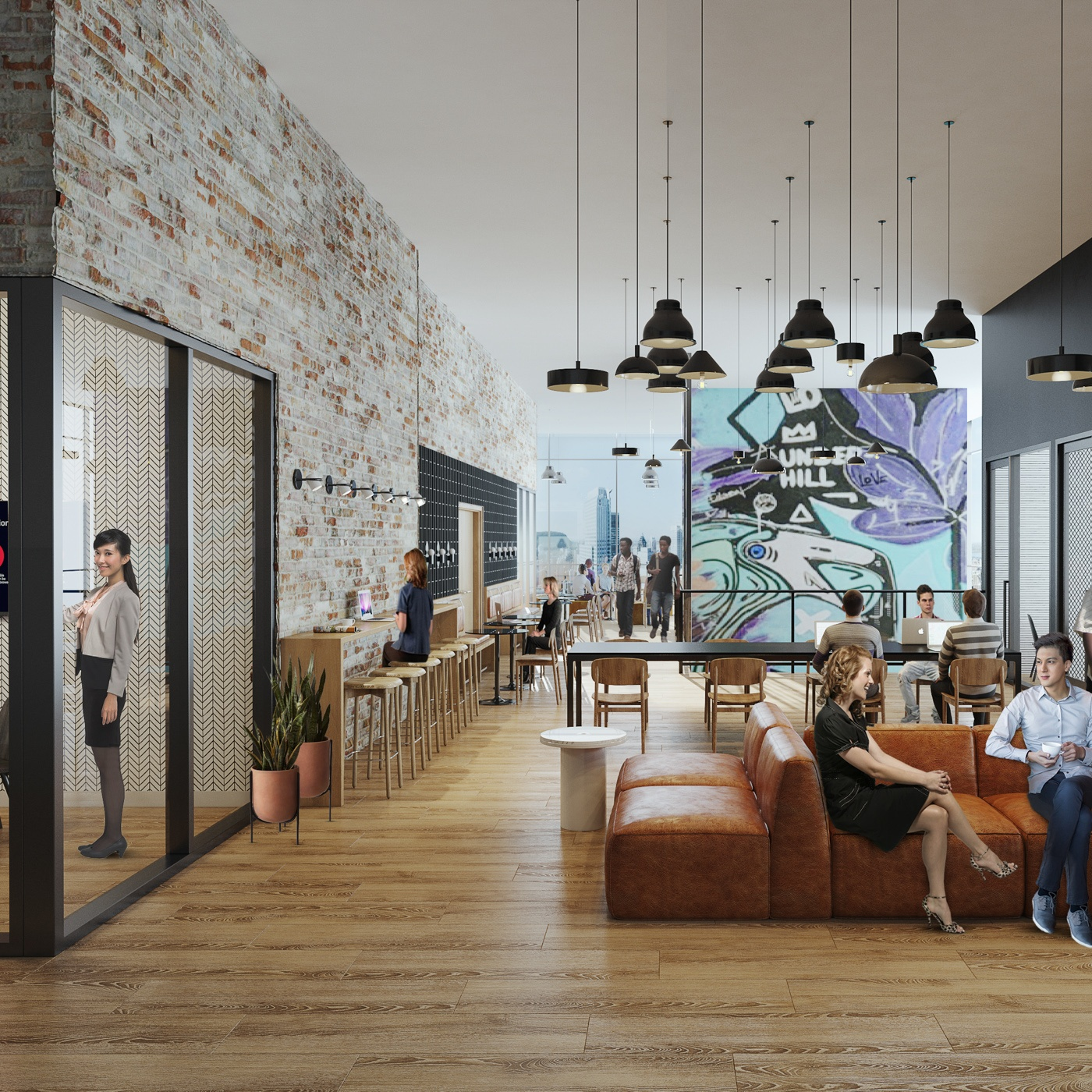 X Oakland coworking space with residents socializing on sofas and working at community desks