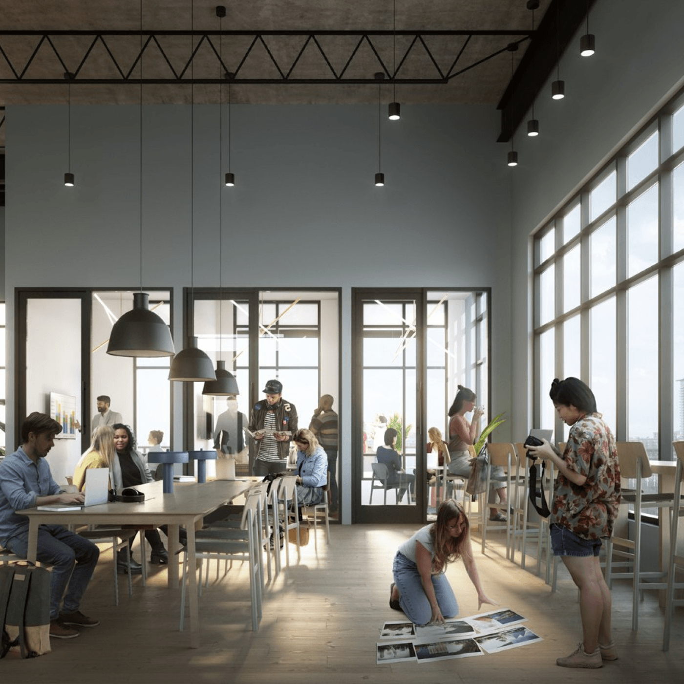 Coworking lounge at X Denver
