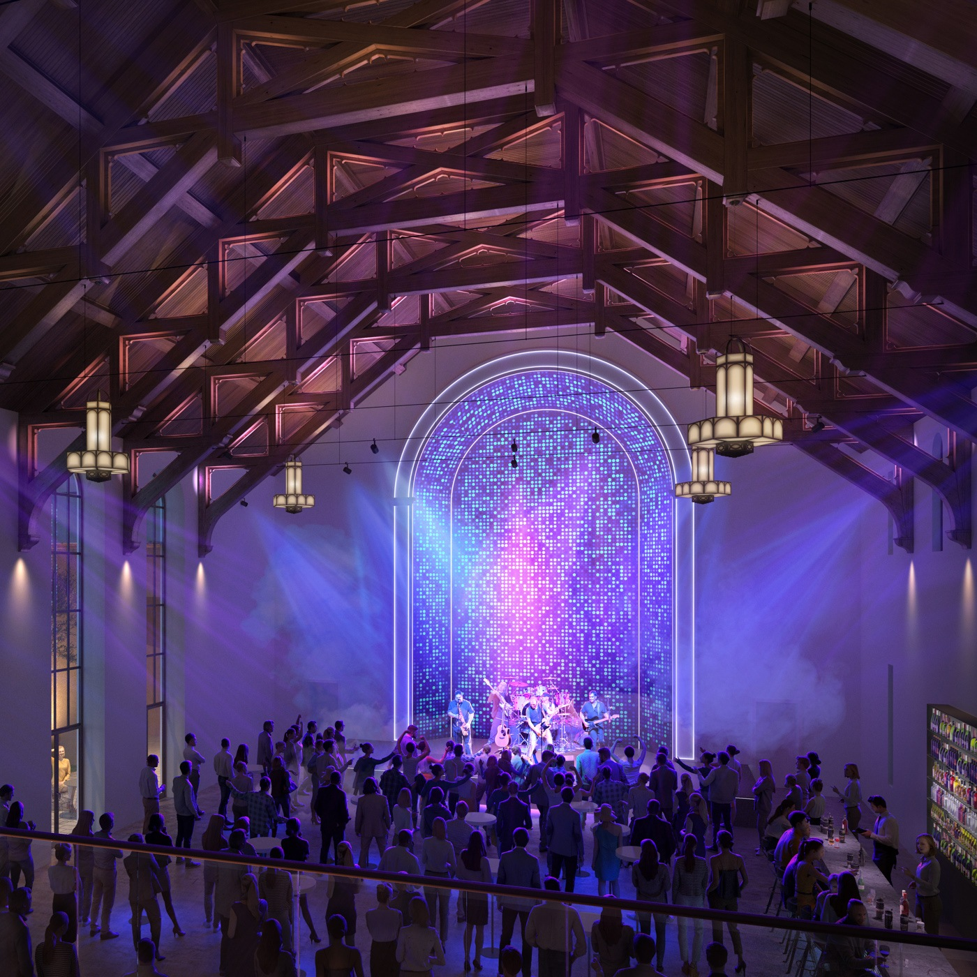 Interior view of a church that has been turned into a music and event venue