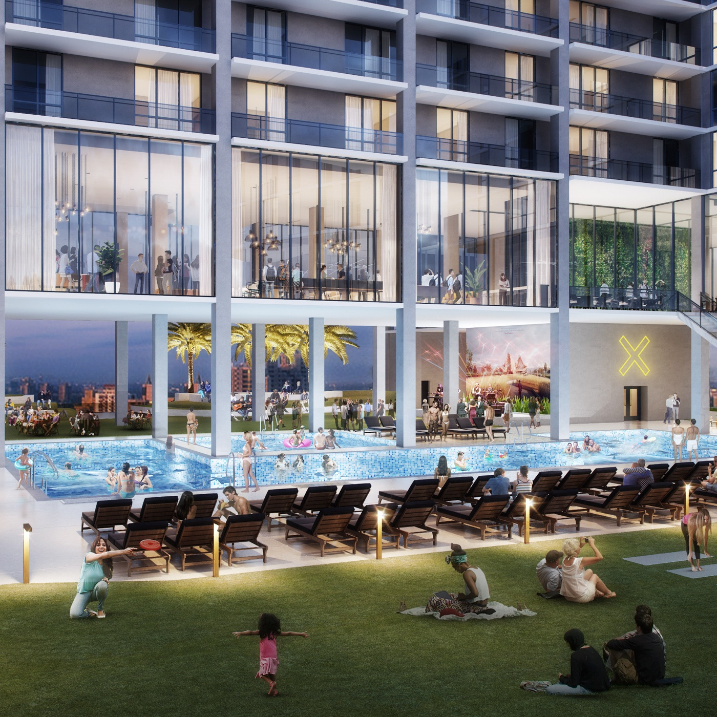 X Phoenix amenity deck with residents lounging poolside.
