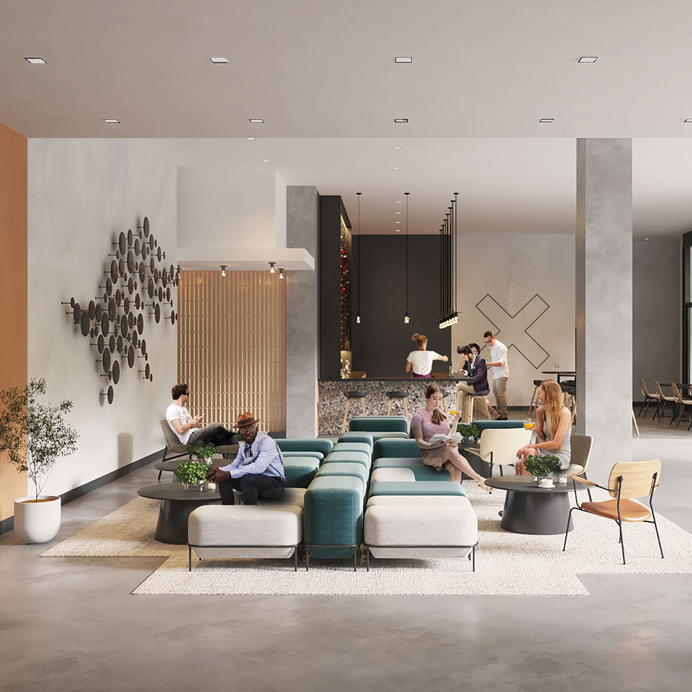 Resident lobby of XD2, with residents relaxing on sofas