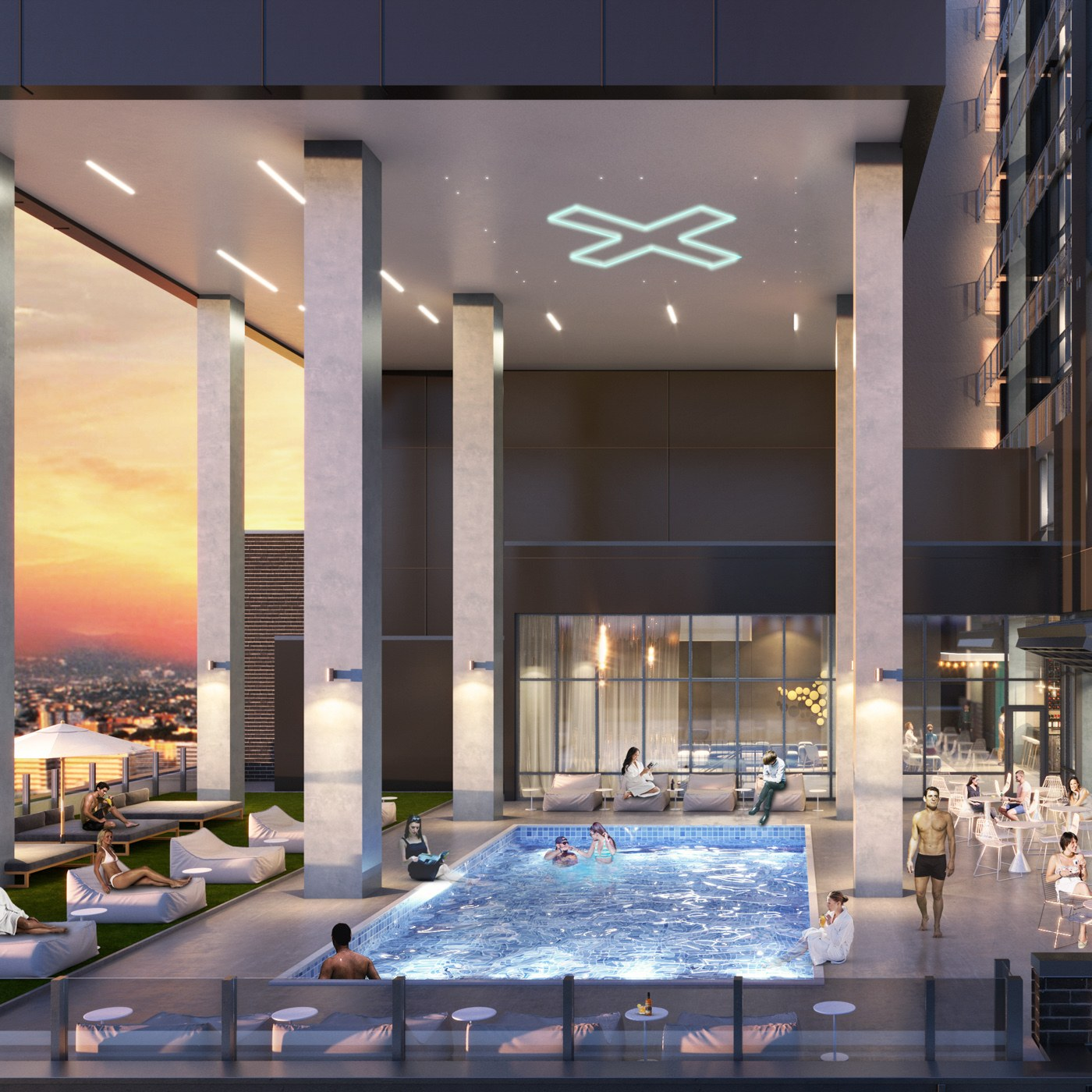 Amenity deck view of XD2, with residents enjoying the pool