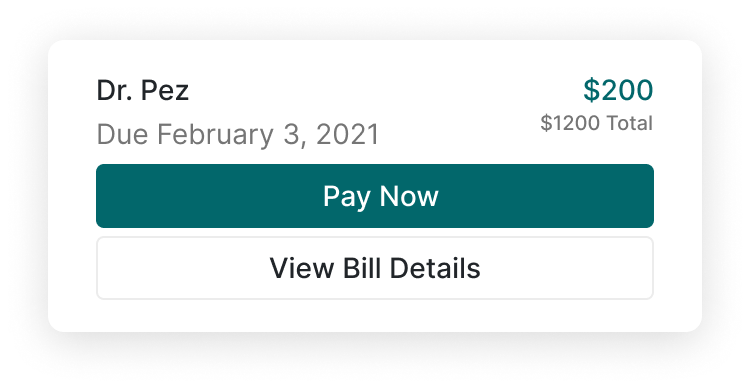 A view of an upcoming bill and payment due