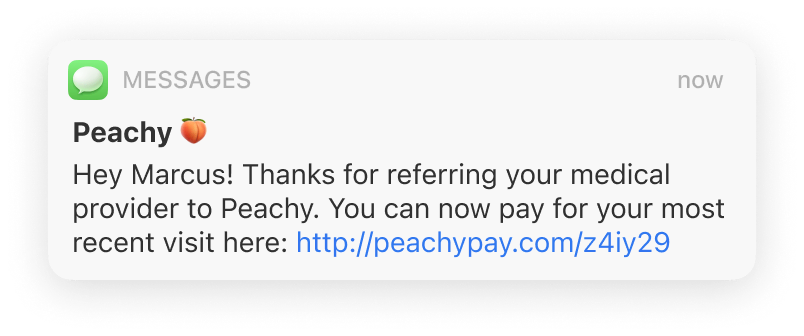 A notification text from Peachy
