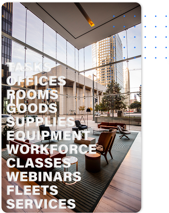 scheduling api for office rooms, equipment and supplies