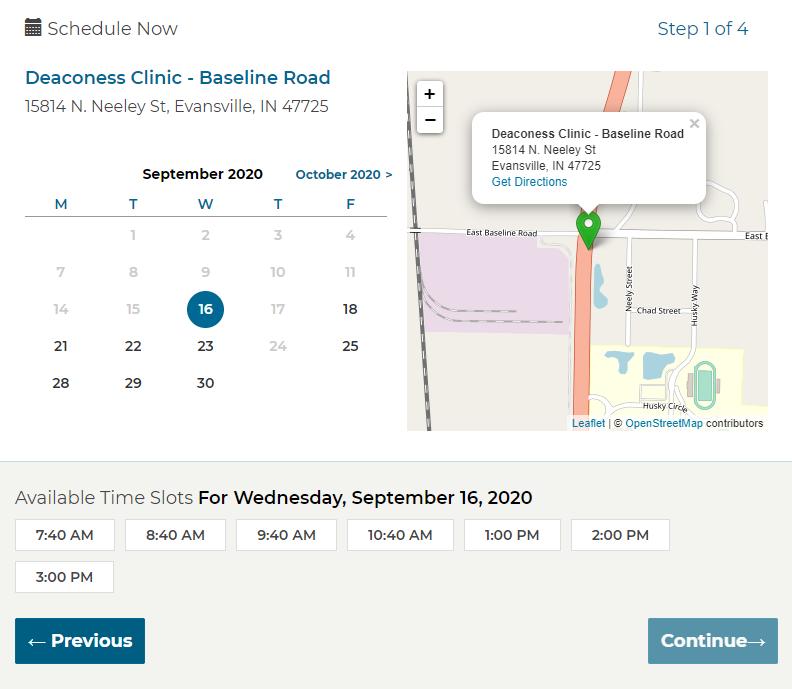 Deaconess Clinic - Schedule screenshot