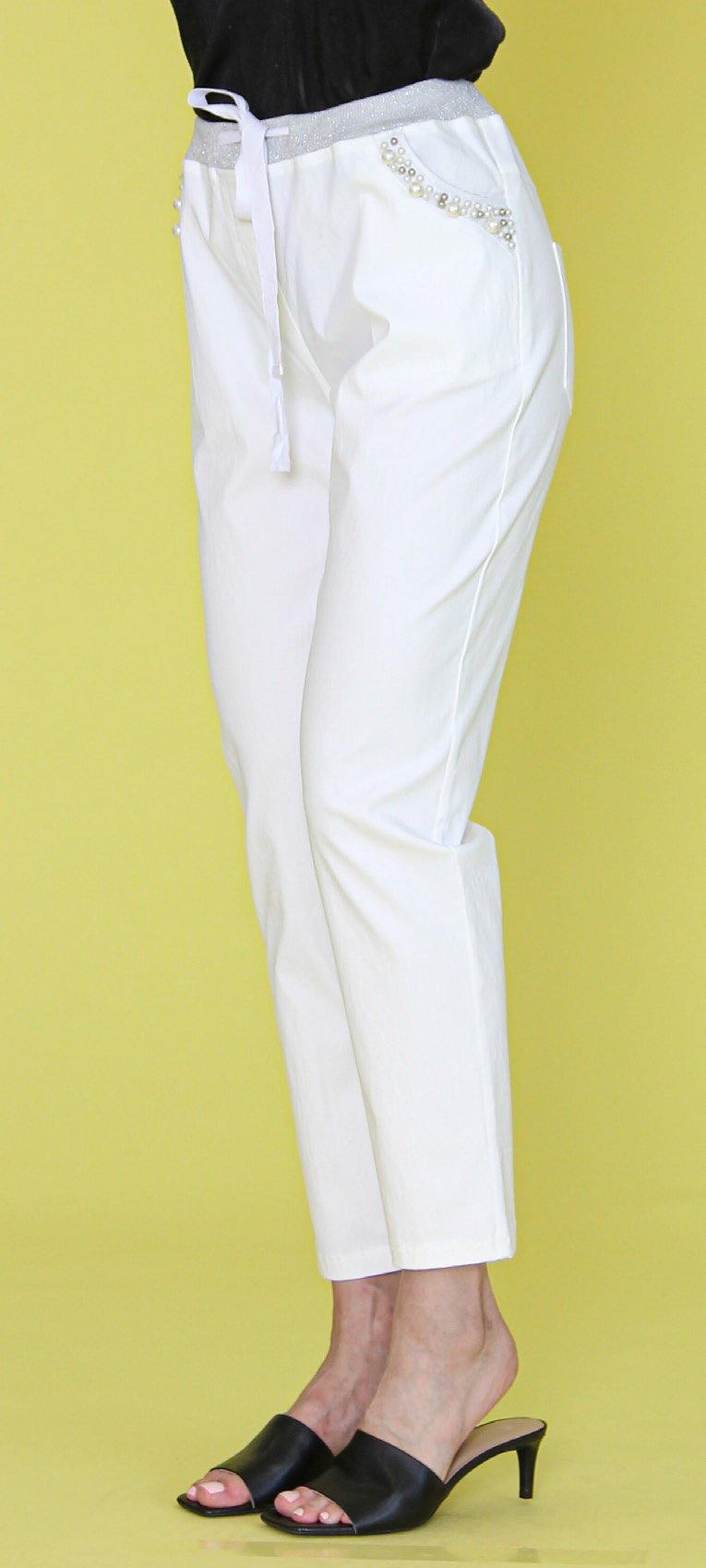 Woven Pants with Pearls