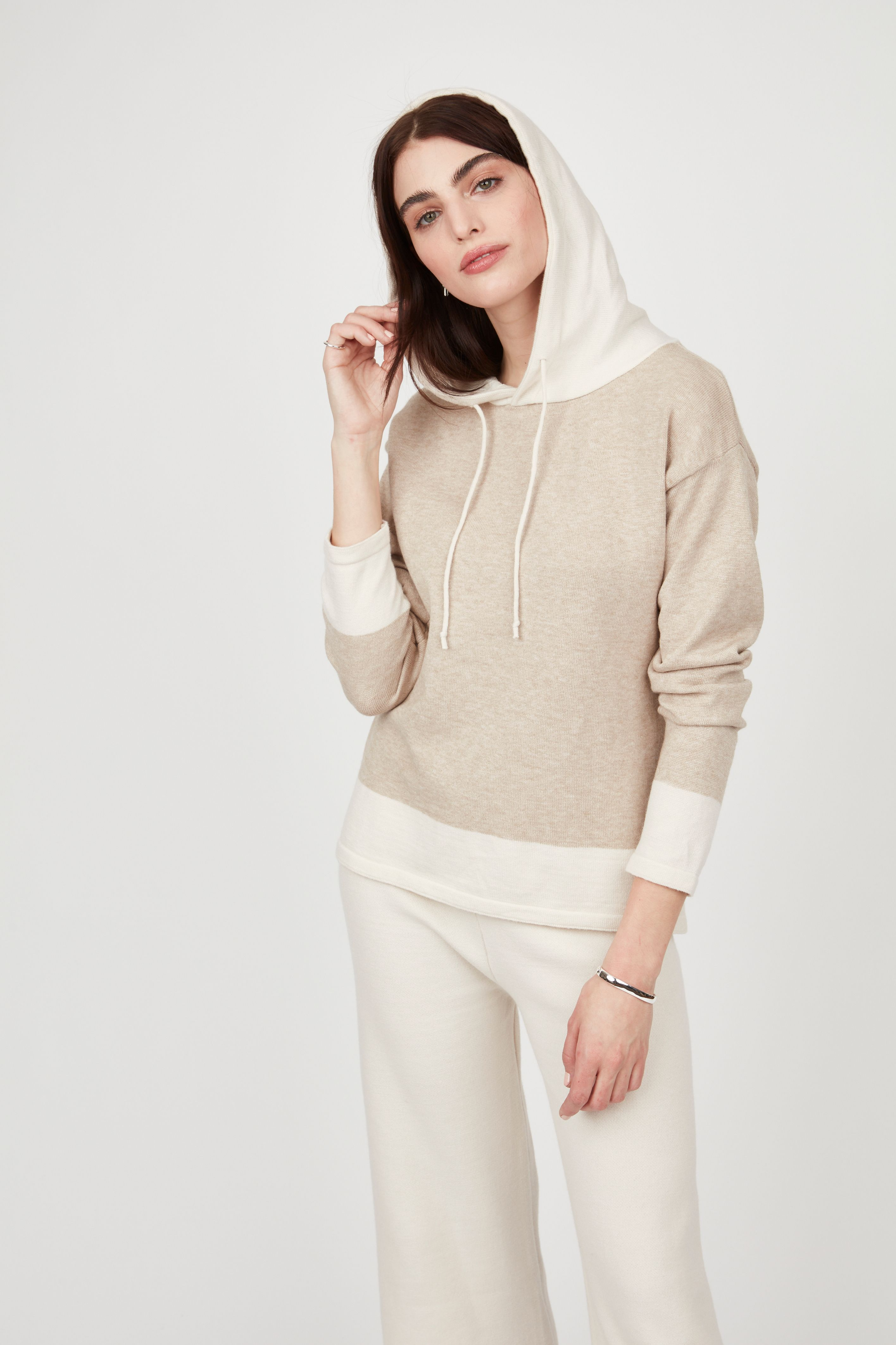 Two Tone Knit Hooded Sweater