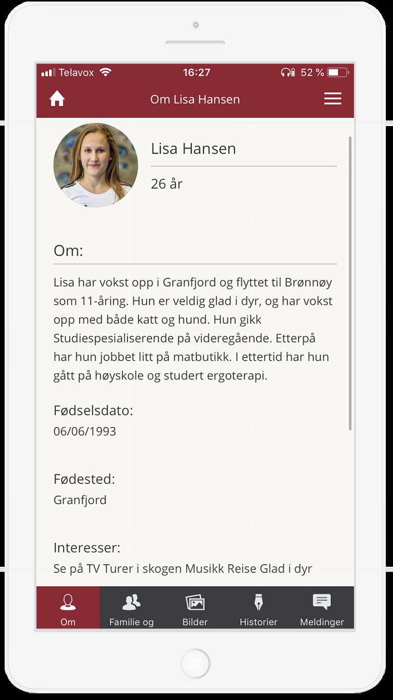 Mobil med profilside