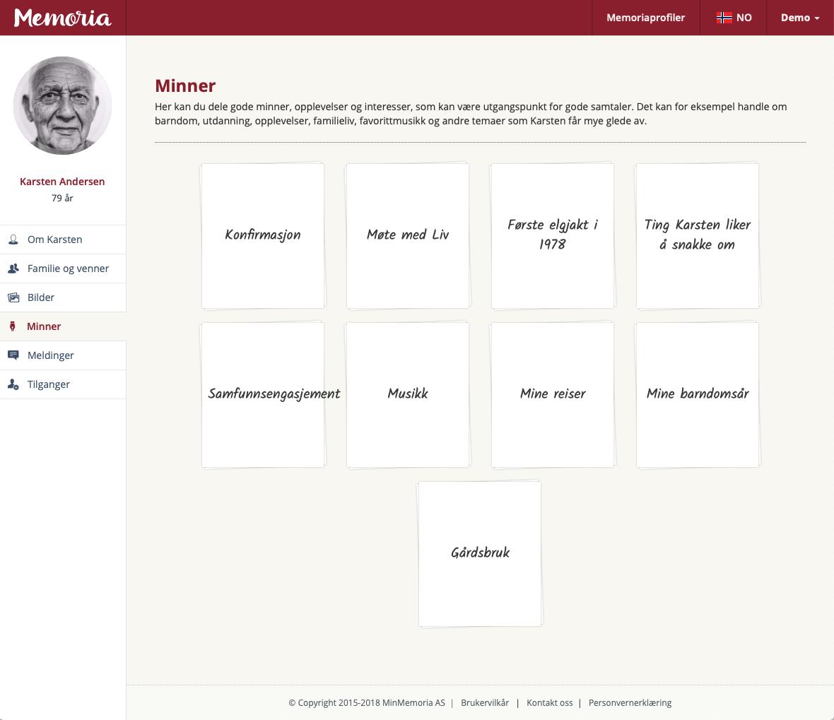 Skjermbilde av Memoria web app