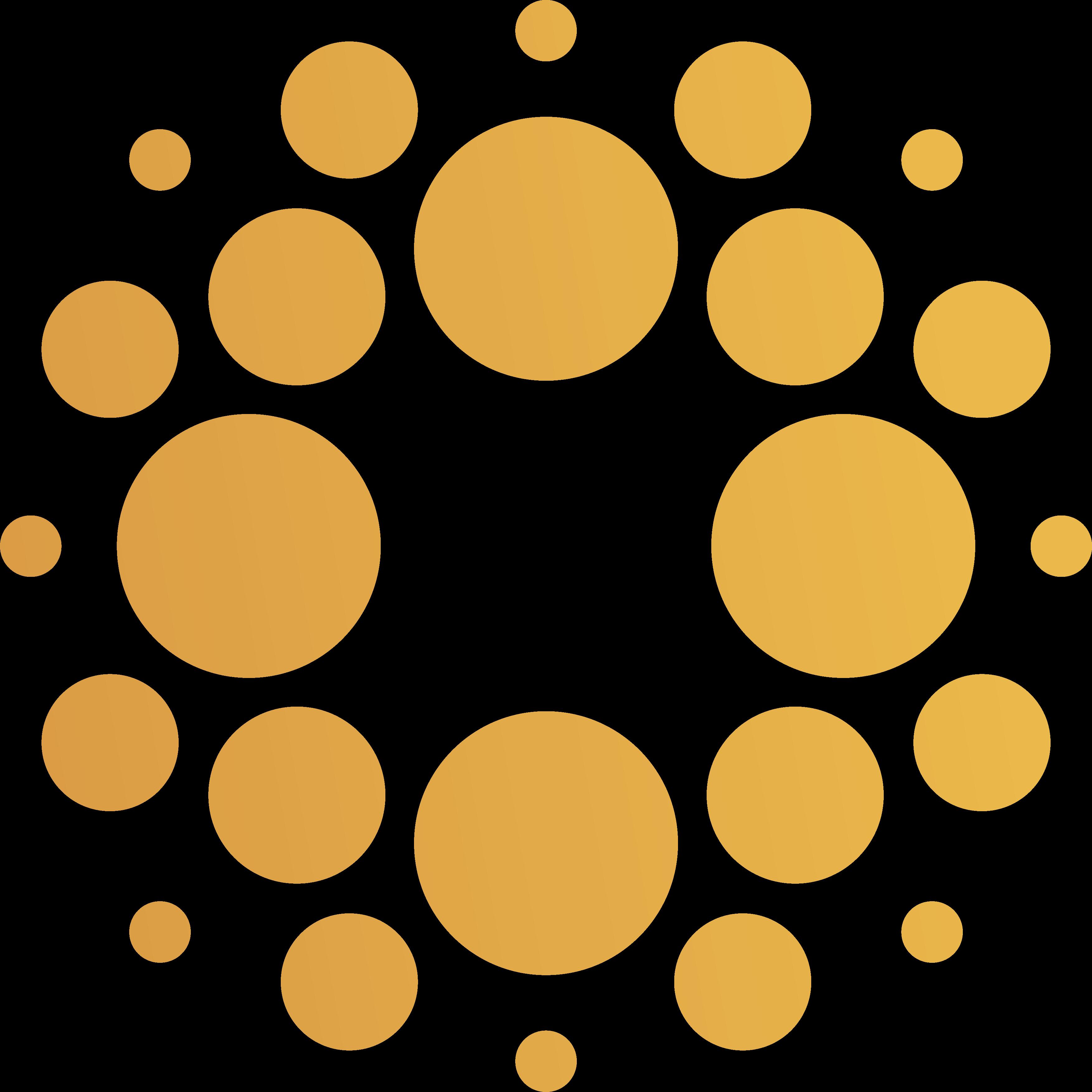 Ring of circles animating behind text