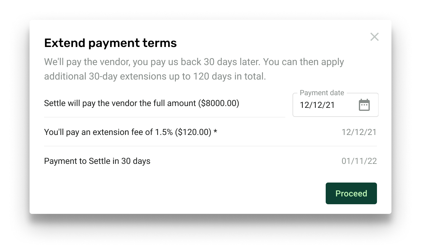 Extended payment terms conditions modal
