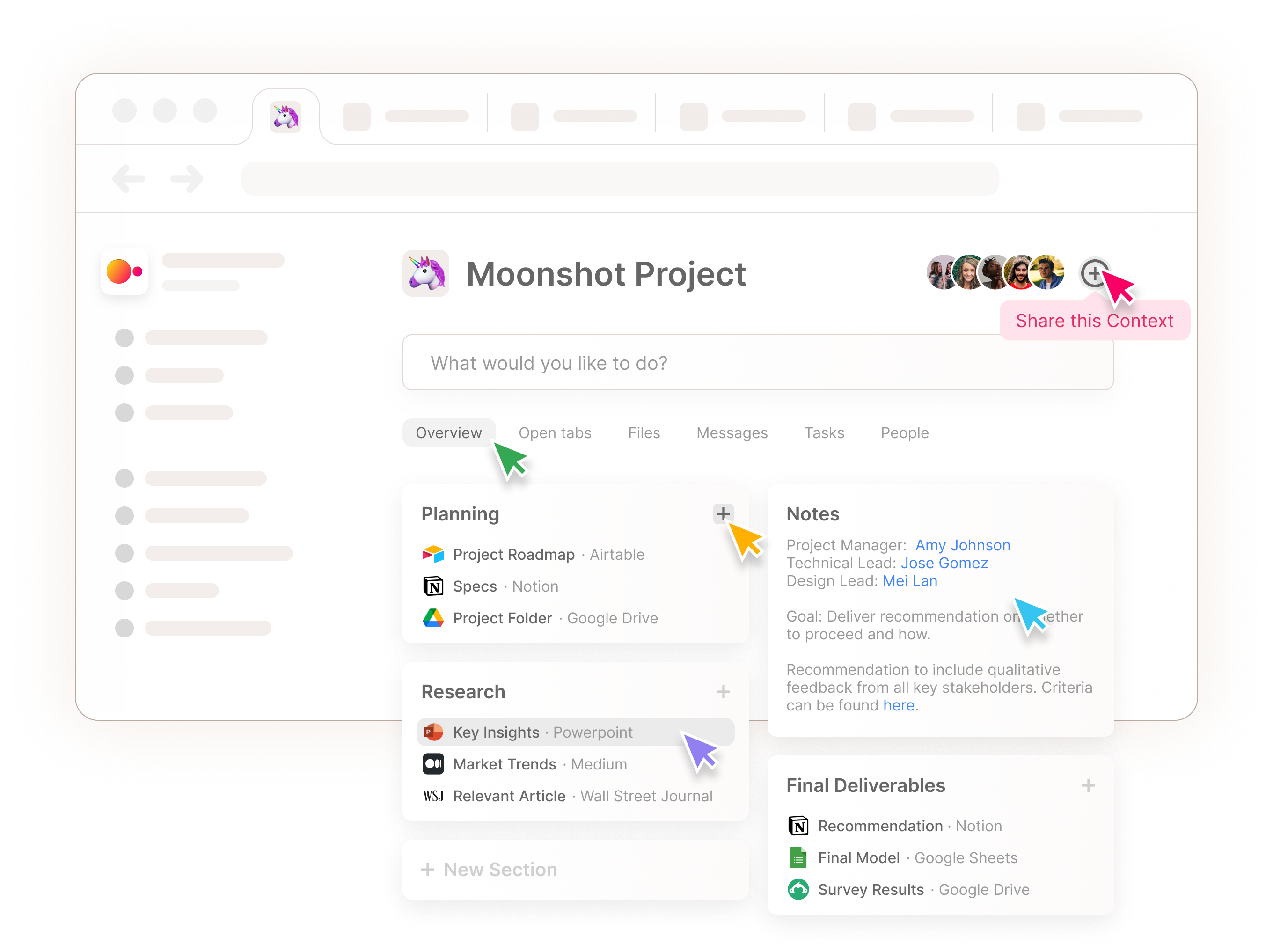 A mock up showing shared resources for a given Context and multiple mouse pointers highlighting collaborative features.