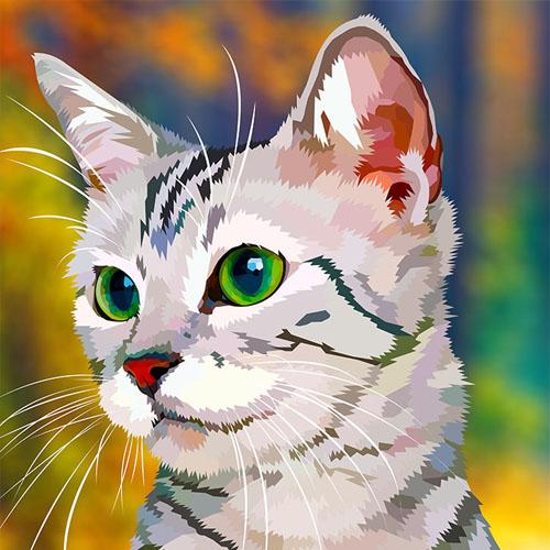 Een digitale tekening van een kat