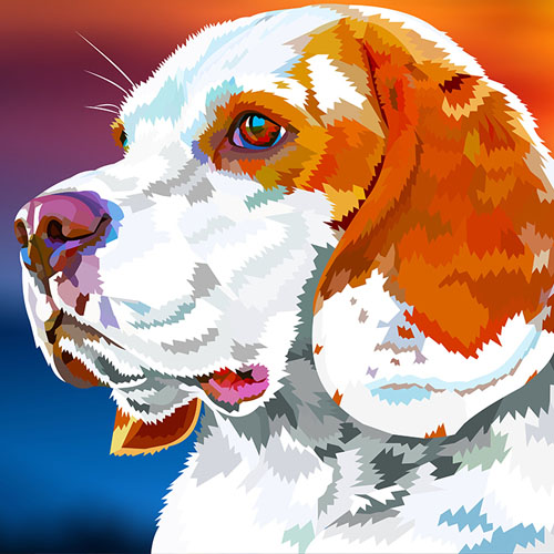 Een digitale tekening van een hond