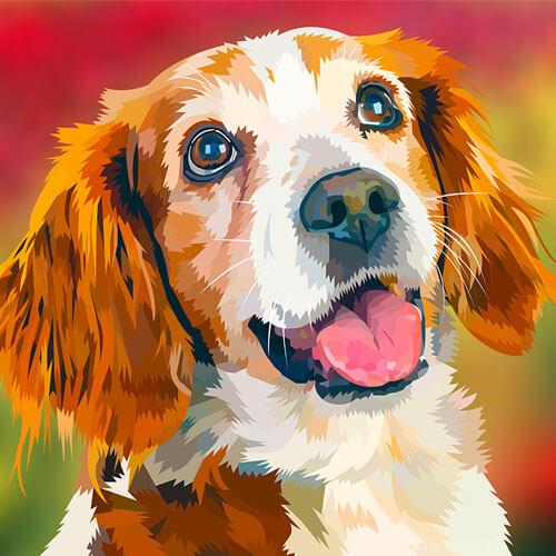 Digitale tekening van een hond