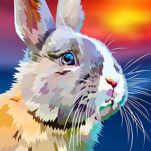 Digitale tekening van een konijn